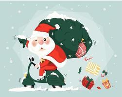 Papai Noel montar scooter entrega presente caixas natal bonito plano vector