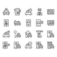 Conjunto de ícones de serviço de táxi e entrega
