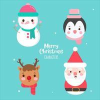 Pacote de Natal personagens coleção X mas coleção cor pastel vetor