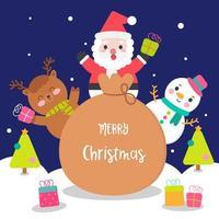 Conjunto de caracteres de desenho de Natal rena de boneco de neve de Papai Noel vetor