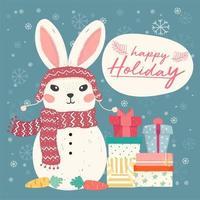 boneco de neve de coelhinho fofo vector plana com pilha de caixas de presente e floco de neve caindo, idéia para cartão e banner