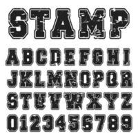 Projeto de carimbo preto de fonte de alfabeto vetor