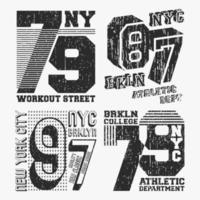 Conjunto de carimbo de camiseta vintage Brooklyn Nova York vetor