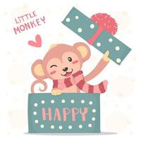 Sorriso feliz macaquinho com lenço vermelho aparecer em uma caixa de presente