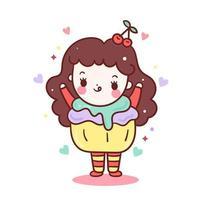 Menina kawaii vestir bolinho doce muffin vestido extravagante comida e bebida