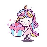 Menina bonito do unicórnio segurando cupcake Kawaii vetor