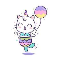 Sereia de unicórnio gato kawaii em animal bonito dos desenhos animados de pônei vetor