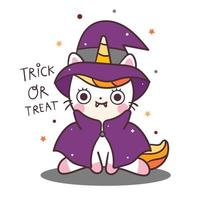 Unicórnio fofo gato bruxa halloween dracula vector kawaii dos desenhos animados doces ou travessuras