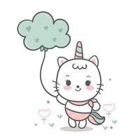Gato fofo unicórnio, desenho de pônei doce segurando a nuvem, animal de fada vetor