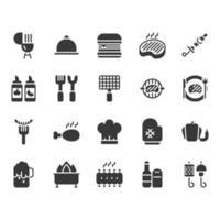 Conjunto de ícones relacionados de churrasco vetor