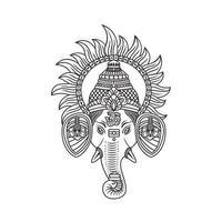 Ilustração de Ganesh Ji rodeada de Suraj Ji vetor