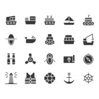 Conjunto de ícones relacionados de navios