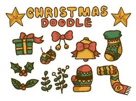 Elementos de doodle de natal vetor Premium