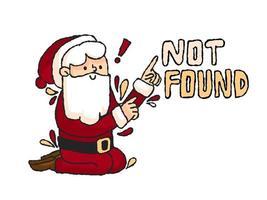 Mensagem de erro de Natal Papai Noel não encontrada vetor