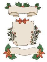 Elementos de papel e banner de Natal design vetor