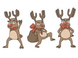 Rena de Natal segurando sinais de texto de madeira vetor