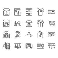 Conjunto de ícones de sexta-feira negra vetor