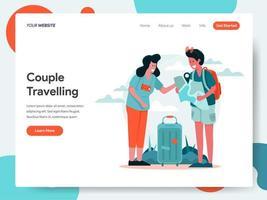 Modelo de página de destino de casal em viagem vetor