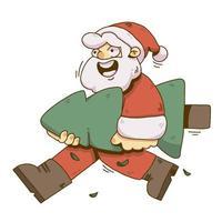 Ilustração de natal santa levantando a árvore de natal vetor