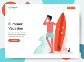 Modelo de página de destino de homem posando com uma prancha de surf vetor