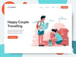 Modelo de página de destino de casal feliz viajando vetor