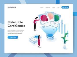 Modelo de página de destino de jogos de cartas colecionáveis vetor