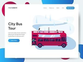 Modelo de página de destino do City Bus Tour vetor