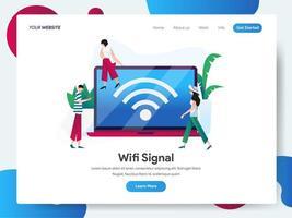 Modelo de página de destino de sinal Wifi com laptop vetor