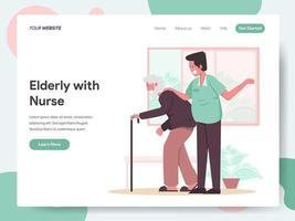 Modelo de página de destino de idosos com enfermeira vetor