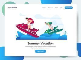 Modelo de página de destino de férias de verão com jet ski