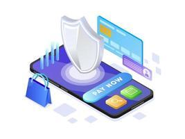 Pagamento Online com Celular vetor
