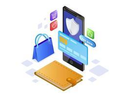 Pagamento on-line por telefone celular vetor