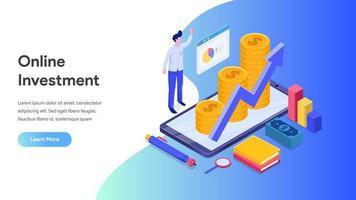 Página de destino do investimento on-line