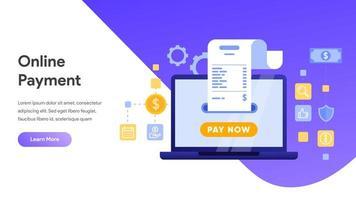 Pagamento móvel ou transferência de dinheiro com o conceito de computador portátil
