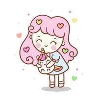Unicórnio fofo e menina, personagem adorável de Kawaii cor pastel animal vetor