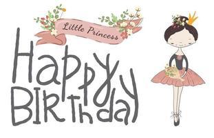 Cartão de feliz aniversário com princesa bonitinha. vetor