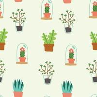 Padrão de flores e plantas vetor