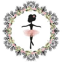 Silhueta negra e tutu rosa pequena princesa bailarina bonito do balé. vetor