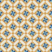 Padrão de azulejos laranja e azul vetor