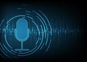 Microfone em fundo de dados digitais