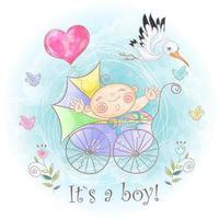 Menino no carrinho. Eu nasci. Chá de bebê. Aguarela vetor
