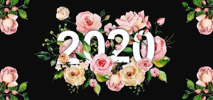 Fundo floral aquarela ano novo vetor