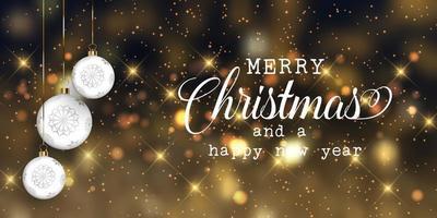Banner de Natal com enfeites e luzes de bokeh design vetor