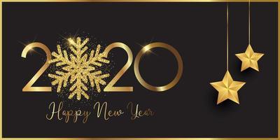 Feliz ano novo banner com floco de neve brilhante e estrelas penduradas vetor