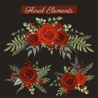 Elementos florais de rosa vermelha vetor