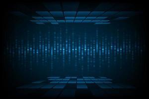 imagem de onda sonora de tecnologia com telhas na parte superior e inferior vetor
