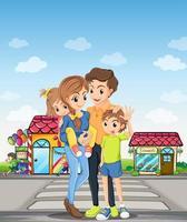 Uma família na faixa de pedestres vetor
