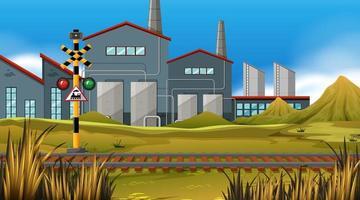 Fundo de trilha de trem de fábrica vetor
