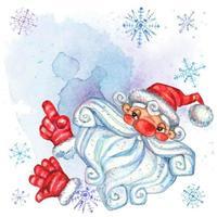 Convite com Papai Noel. Cartão de Natal com espaço para texto. Aguarela