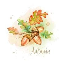 Cartão em aquarela de outono com bolotas e folhas de carvalho vetor